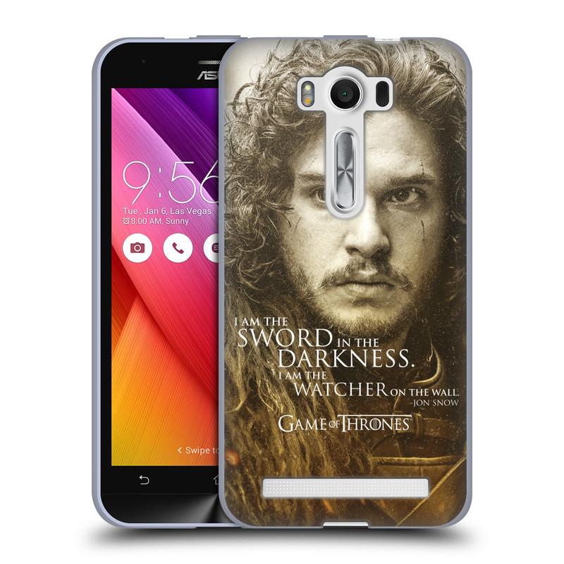 """Silikonové pouzdro na mobil Asus ZenFone 2 Laser ZE500KL HEAD CASE Hra o trůny - Jon Snow (Silikonový kryt či obal na mobilní telefon s licencovaným motivem Hra o trůny - Game Of Thrones pro Asus ZenFone 2 Laser ZE500KL s 5"""" displejem)"""
