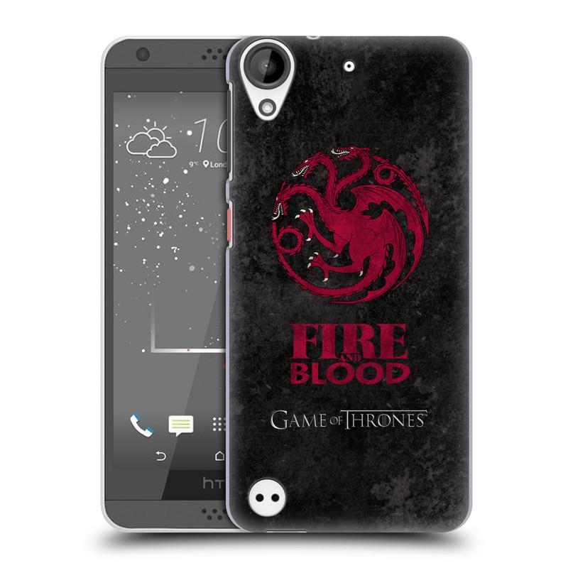 Plastové pouzdro na mobil HTC Desire 530 HEAD CASE Hra o trůny - Sigils Targaryen - Fire and Blood (Plastový kryt či obal na mobilní telefon s licencovaným motivem Hra o trůny - Game Of Thrones pro HTC Desire 530)