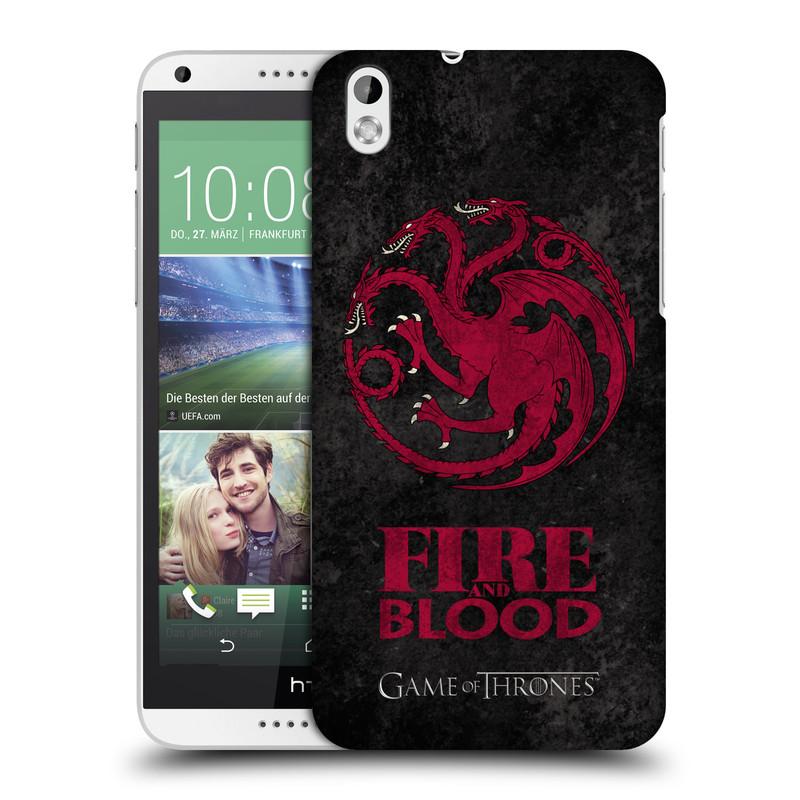 Plastové pouzdro na mobil HTC Desire 816 HEAD CASE Hra o trůny - Sigils Targaryen - Fire and Blood (Plastový kryt či obal na mobilní telefon s licencovaným motivem Hra o trůny - Game Of Thrones pro HTC Desire 816)