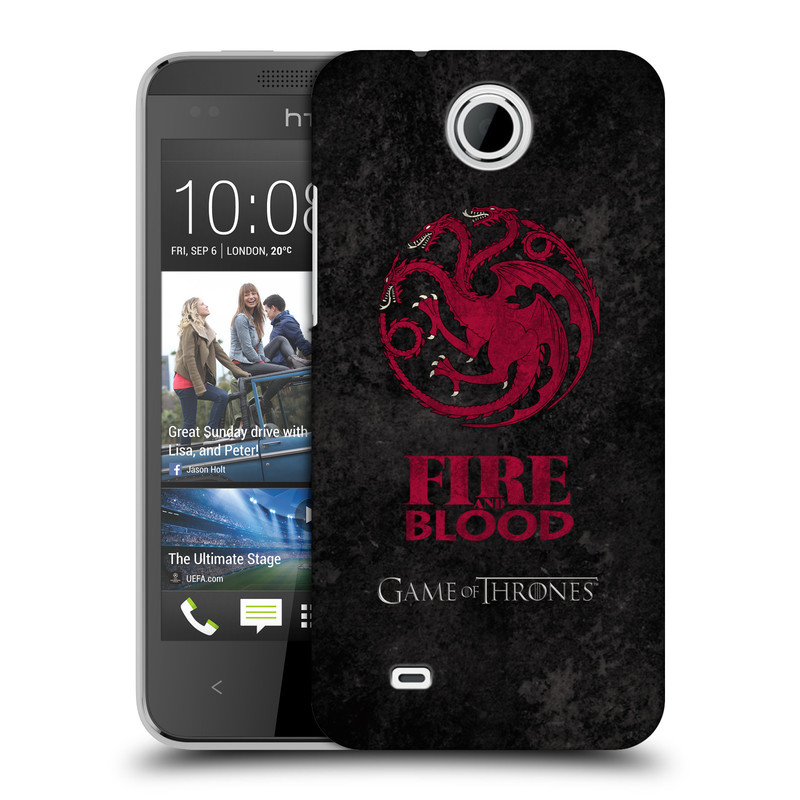 Plastové pouzdro na mobil HTC Desire 300 HEAD CASE Hra o trůny - Sigils Targaryen - Fire and Blood (Plastový kryt či obal na mobilní telefon s licencovaným motivem Hra o trůny - Game Of Thrones pro HTC Desire 300)