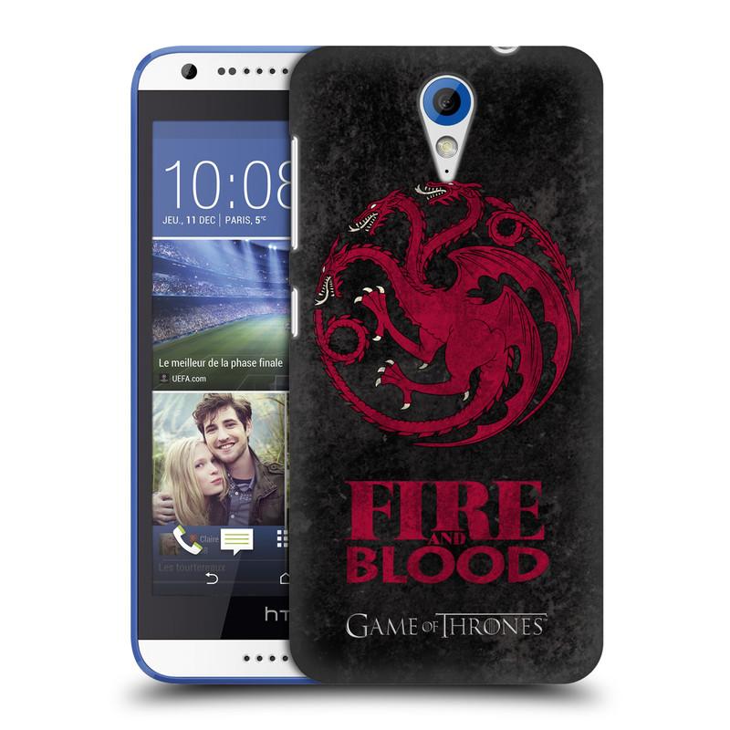 Plastové pouzdro na mobil HTC Desire 620 HEAD CASE Hra o trůny - Sigils Targaryen - Fire and Blood (Plastový kryt či obal na mobilní telefon s licencovaným motivem Hra o trůny - Game Of Thrones pro HTC Desire 620)