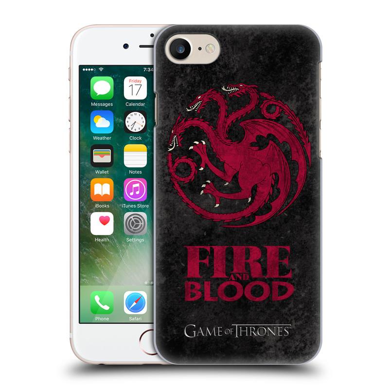 Plastové pouzdro na mobil Apple iPhone 7 HEAD CASE Hra o trůny - Sigils Targaryen - Fire and Blood (Plastový kryt či obal na mobilní telefon s licencovaným motivem Hra o trůny - Game Of Thrones pro Apple iPhone 7)
