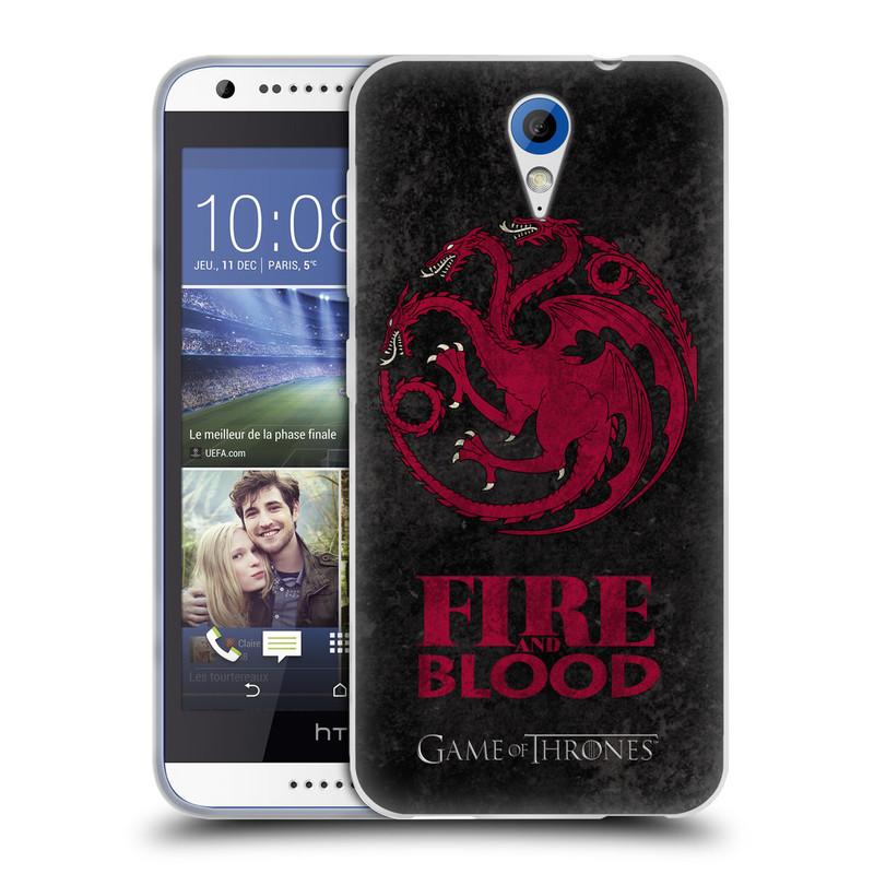 Silikonové pouzdro na mobil HTC Desire 620 HEAD CASE Hra o trůny - Sigils Targaryen - Fire and Blood (Silikonový kryt či obal na mobilní telefon s licencovaným motivem Hra o trůny - Game Of Thrones pro HTC Desire 620)