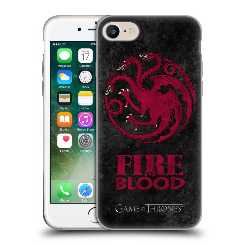Silikonové pouzdro na mobil Apple iPhone 7 HEAD CASE Hra o trůny - Sigils Targaryen - Fire and Blood (Silikonový kryt či obal na mobilní telefon s licencovaným motivem Hra o trůny - Game Of Thrones pro Apple iPhone 7)