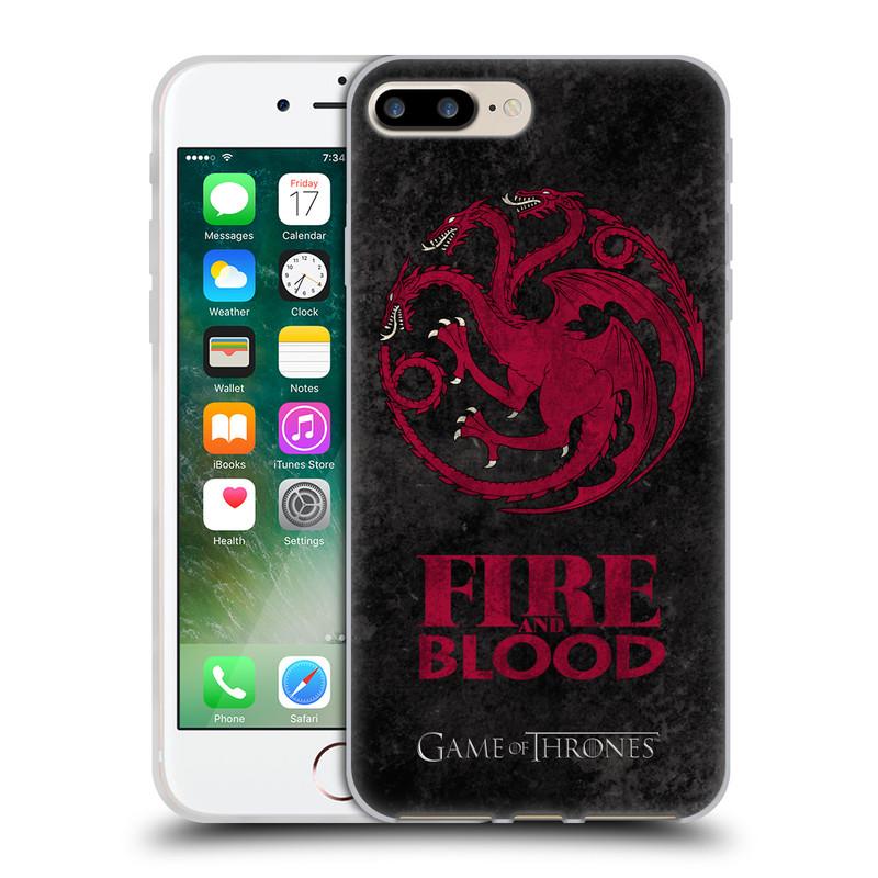 Silikonové pouzdro na mobil Apple iPhone 7 Plus HEAD CASE Hra o trůny - Sigils Targaryen - Fire and Blood (Silikonový kryt či obal na mobilní telefon s licencovaným motivem Hra o trůny - Game Of Thrones pro Apple iPhone 7 Plus)
