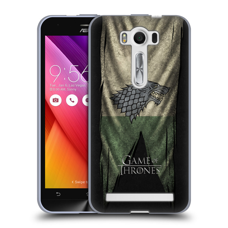 """Silikonové pouzdro na mobil Asus ZenFone 2 Laser ZE500KL HEAD CASE Hra o trůny - Stark Flag (Silikonový kryt či obal na mobilní telefon s licencovaným motivem Hra o trůny / Game of Thrones pro Asus ZenFone 2 Laser ZE500KL s 5"""" displejem)"""
