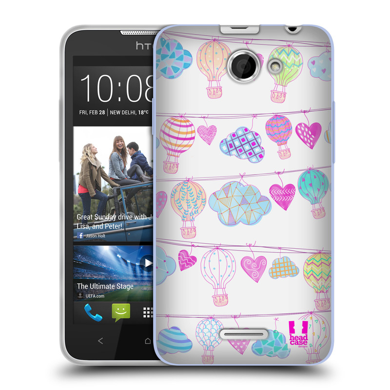 Silikonové pouzdro na mobil HTC Desire 516 HEAD CASE Balóny a srdíčka (Silikonový kryt či obal na mobilní telefon HTC Desire 516 Dual SIM)