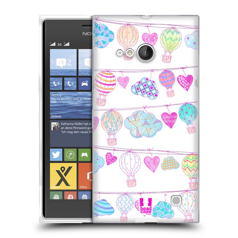 Silikonové pouzdro na mobil Nokia Lumia 730 Dual SIM HEAD CASE Balóny a srdíčka (Silikonový kryt či obal na mobilní telefon Nokia Lumia 730 Dual SIM)