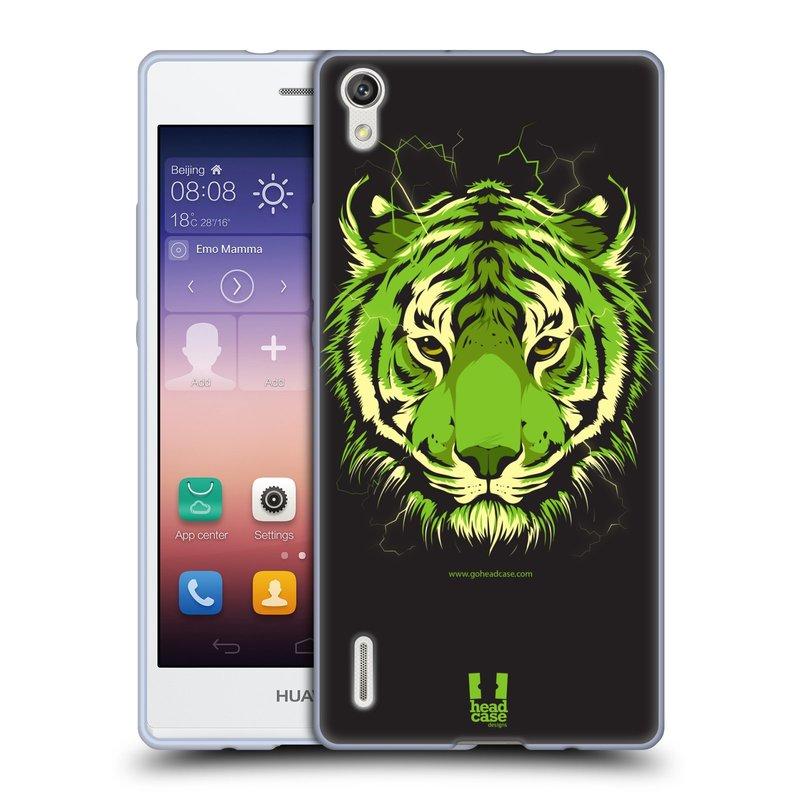 Silikonové pouzdro na mobil Huawei P7 HEAD CASE BENGÁLSKÝ TYGR (Silikonový kryt či obal na mobilní telefon Huawei Ascend P7)
