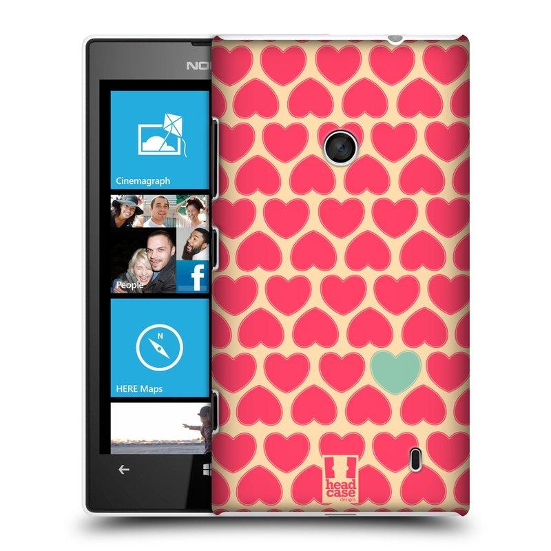 Plastové pouzdro na mobil Nokia Lumia 520 HEAD CASE SRDÍČKA RŮŽOVÁ (Kryt či obal na mobilní telefon Nokia Lumia 520 )