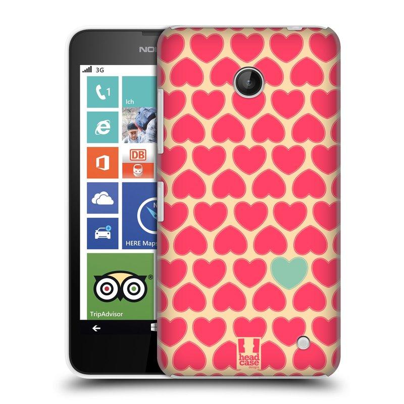 Plastové pouzdro na mobil Nokia Lumia 630 HEAD CASE SRDÍČKA RŮŽOVÁ (Kryt či obal na mobilní telefon Nokia Lumia 630 a Nokia Lumia 630 Dual SIM)
