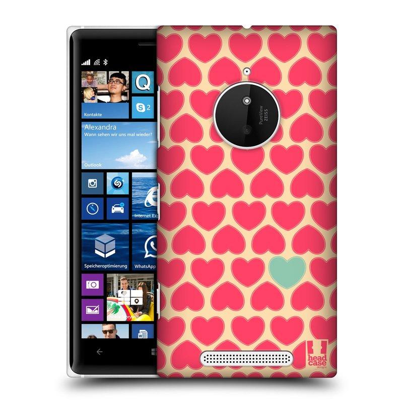 Plastové pouzdro na mobil Nokia Lumia 830 HEAD CASE SRDÍČKA RŮŽOVÁ (Kryt či obal na mobilní telefon Nokia Lumia 830)