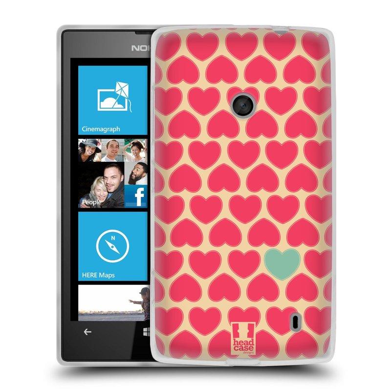 Silikonové pouzdro na mobil Nokia Lumia 520 HEAD CASE SRDÍČKA RŮŽOVÁ (Silikonový Kryt či obal na mobilní telefon Nokia Lumia 520)