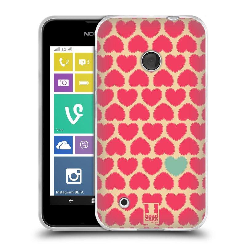 Silikonové pouzdro na mobil Nokia Lumia 530 HEAD CASE SRDÍČKA RŮŽOVÁ (Silikonový kryt či obal na mobilní telefon Nokia Lumia 530)