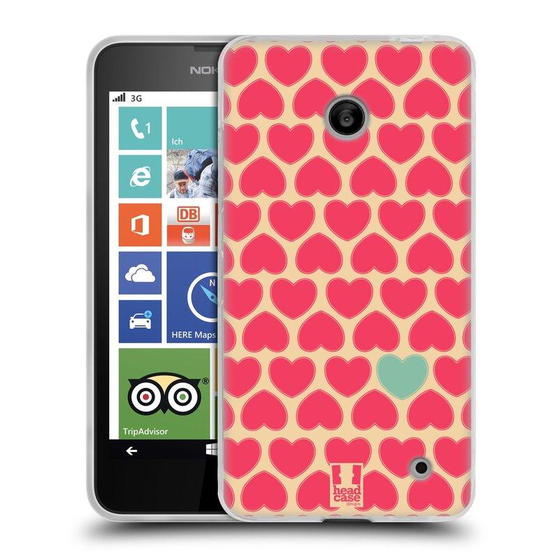 Silikonové pouzdro na mobil Nokia Lumia 630 HEAD CASE SRDÍČKA RŮŽOVÁ (Silikonový kryt či obal na mobilní telefon Nokia Lumia 630 a Nokia Lumia 630 Dual SIM)