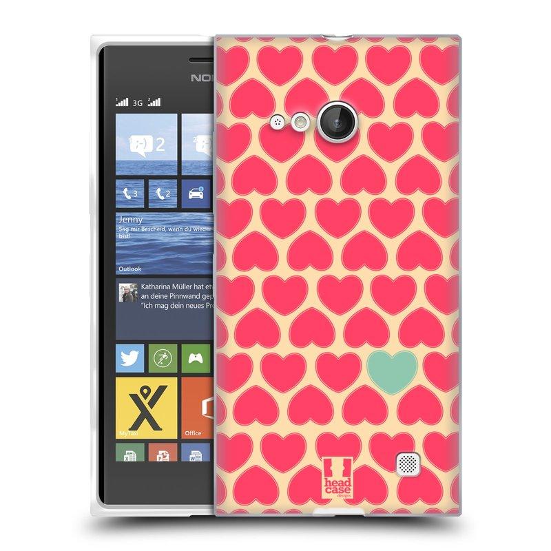 Silikonové pouzdro na mobil Nokia Lumia 735 HEAD CASE SRDÍČKA RŮŽOVÁ (Silikonový kryt či obal na mobilní telefon Nokia Lumia 735)