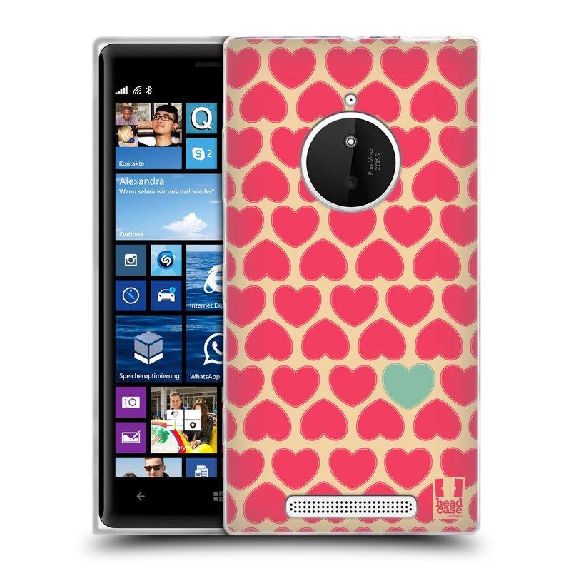 Silikonové pouzdro na mobil Nokia Lumia 830 HEAD CASE SRDÍČKA RŮŽOVÁ (Silikonový kryt či obal na mobilní telefon Nokia Lumia 830)