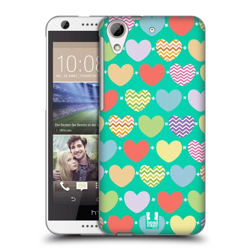 Plastové pouzdro na mobil HTC Desire 626 / 626G HEAD CASE SRDÍČKA NA ZELENÉ (Kryt či obal na mobilní telefon HTC Desire 626G Dual SIM a HTC Desire 626)