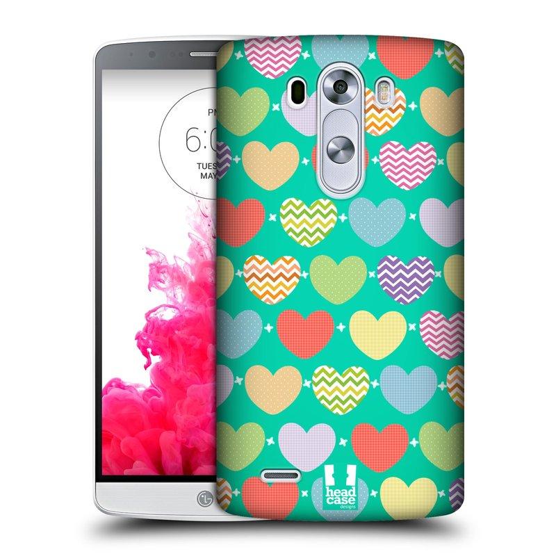 Plastové pouzdro na mobil LG G3 HEAD CASE SRDÍČKA NA ZELENÉ (Kryt či obal na mobilní telefon LG G3 D855)
