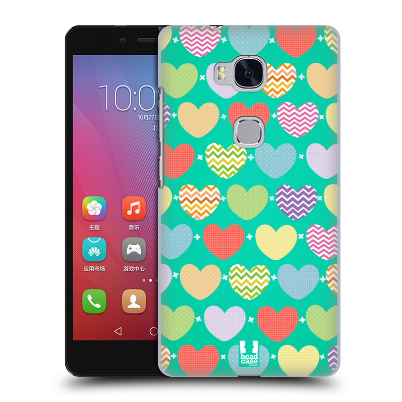 Plastové pouzdro na mobil Honor 5X HEAD CASE SRDÍČKA NA ZELENÉ (Kryt či obal na mobilní telefon Huawei Honor 5X)