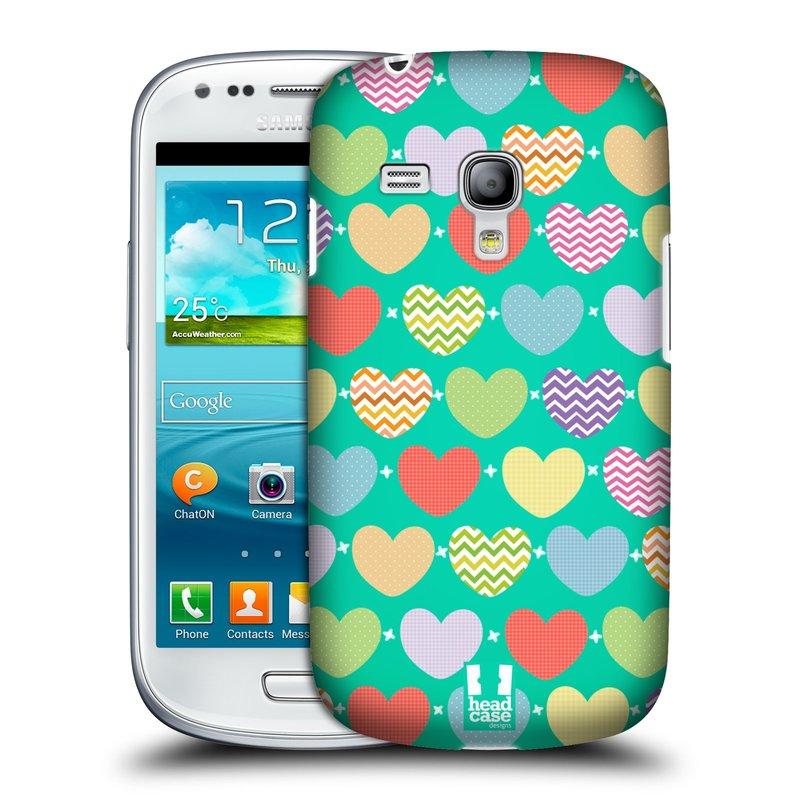 Plastové pouzdro na mobil Samsung Galaxy S III Mini HEAD CASE SRDÍČKA NA ZELENÉ (Kryt či obal na mobilní telefon Samsung Galaxy S III Mini GT-i8190)