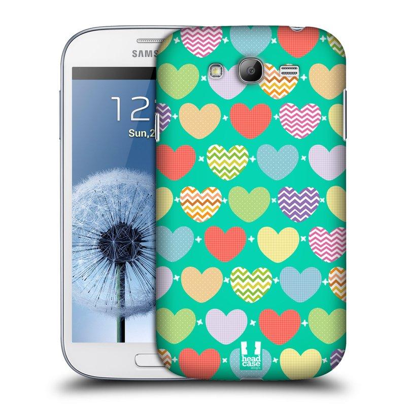 Plastové pouzdro na mobil Samsung Galaxy Grand Neo Plus HEAD CASE SRDÍČKA NA ZELENÉ (Kryt či obal na mobilní telefon Samsung Galaxy Grand Neo Plus GT-i9060i)