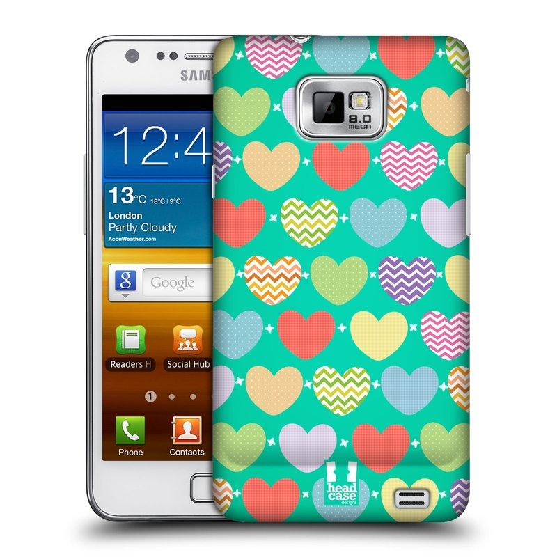 Plastové pouzdro na mobil Samsung Galaxy S II HEAD CASE SRDÍČKA NA ZELENÉ (Kryt či obal na mobilní telefon Samsung Galaxy S II GT-i9100)