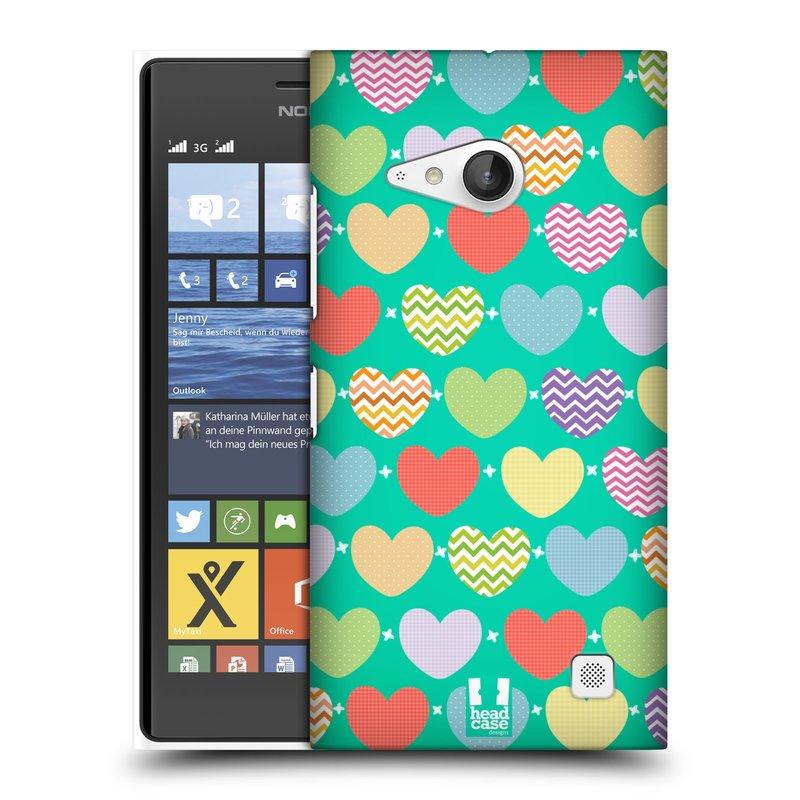 Plastové pouzdro na mobil Nokia Lumia 730 Dual SIM HEAD CASE SRDÍČKA NA ZELENÉ (Kryt či obal na mobilní telefon Nokia Lumia 730 Dual SIM)