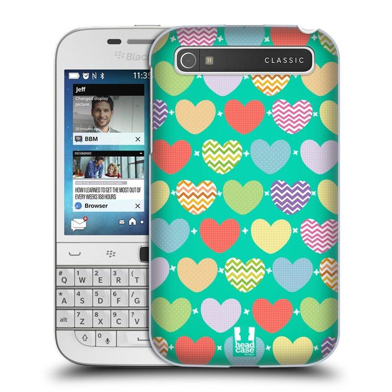 Plastové pouzdro na mobil Blackberry Classic HEAD CASE SRDÍČKA NA ZELENÉ (Kryt či obal na mobilní telefon Blackberry Classic)