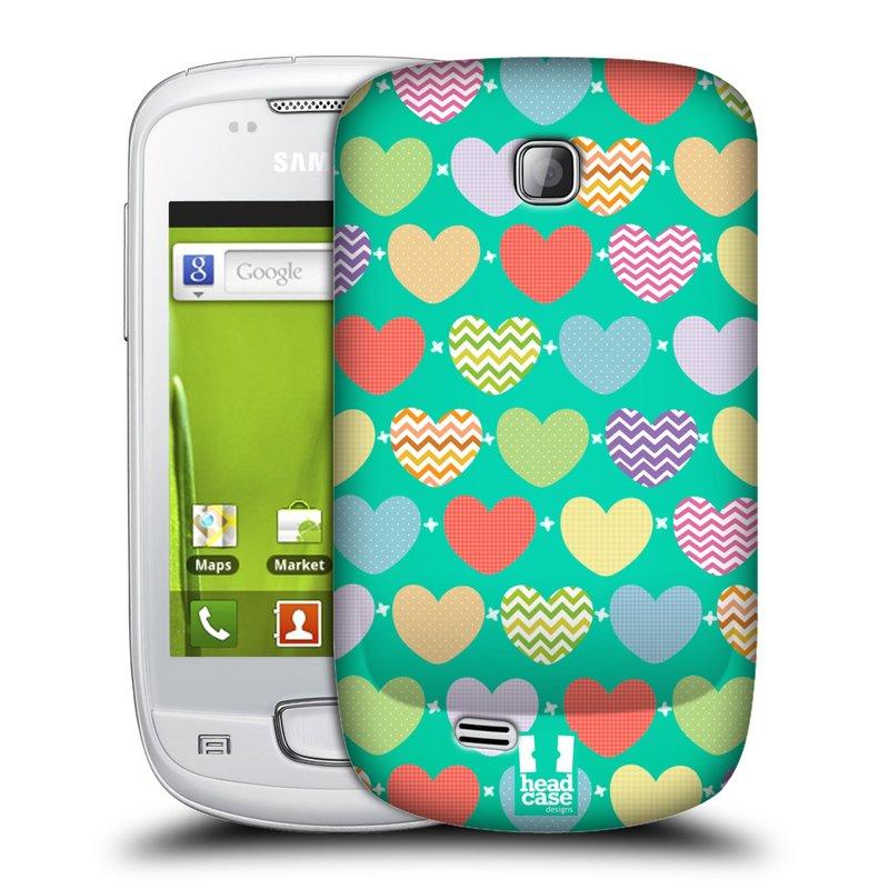 Plastové pouzdro na mobil Samsung Galaxy Mini HEAD CASE SRDÍČKA NA ZELENÉ (Kryt či obal na mobilní telefon Samsung Galaxy Mini GT-S5570 / GT-S5570i)