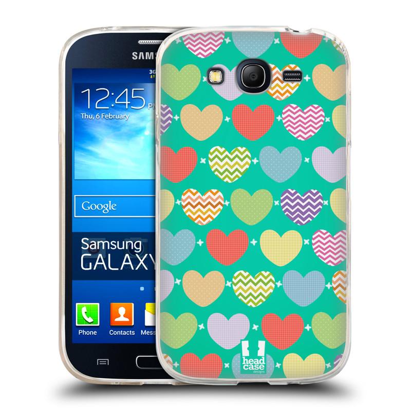 Silikonové pouzdro na mobil Samsung Galaxy Grand Neo HEAD CASE SRDÍČKA NA ZELENÉ (Silikonový kryt či obal na mobilní telefon Samsung Galaxy Grand Neo GT-I9060)