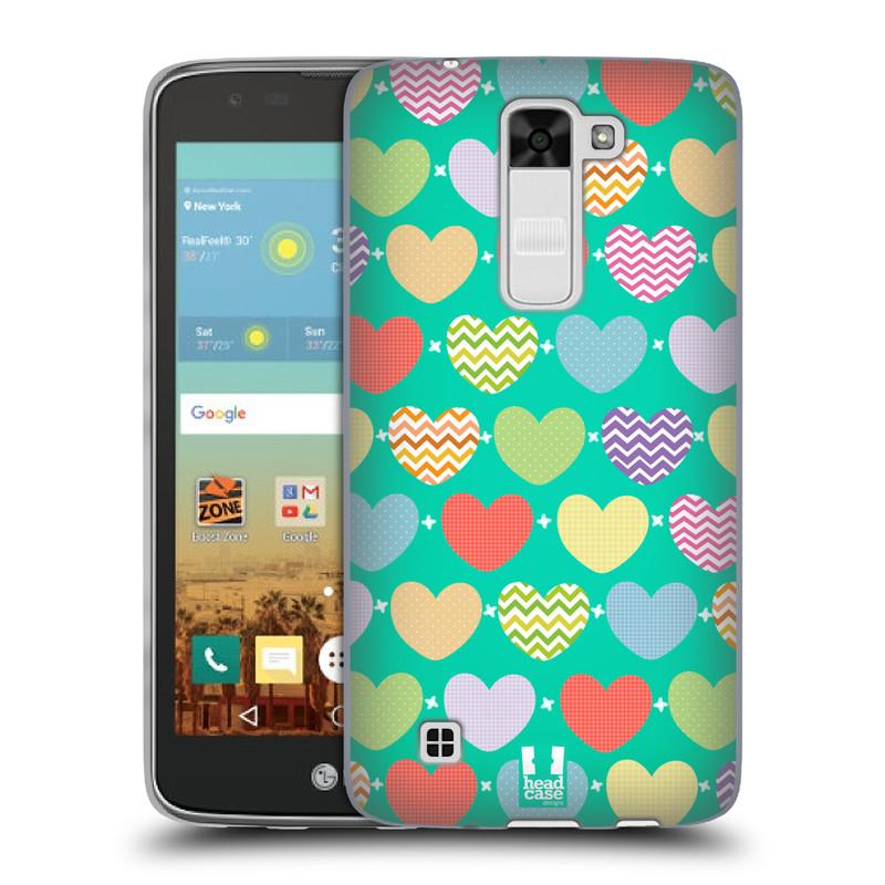 Silikonové pouzdro na mobil LG K7 HEAD CASE SRDÍČKA NA ZELENÉ (Silikonový kryt či obal na mobilní telefon LG K7)