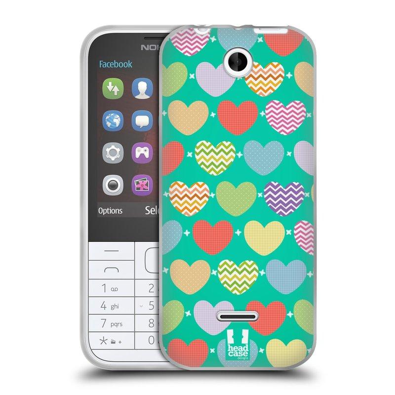 Silikonové pouzdro na mobil Nokia 225 HEAD CASE SRDÍČKA NA ZELENÉ (Silikonový kryt či obal na mobilní telefon Nokia 225)