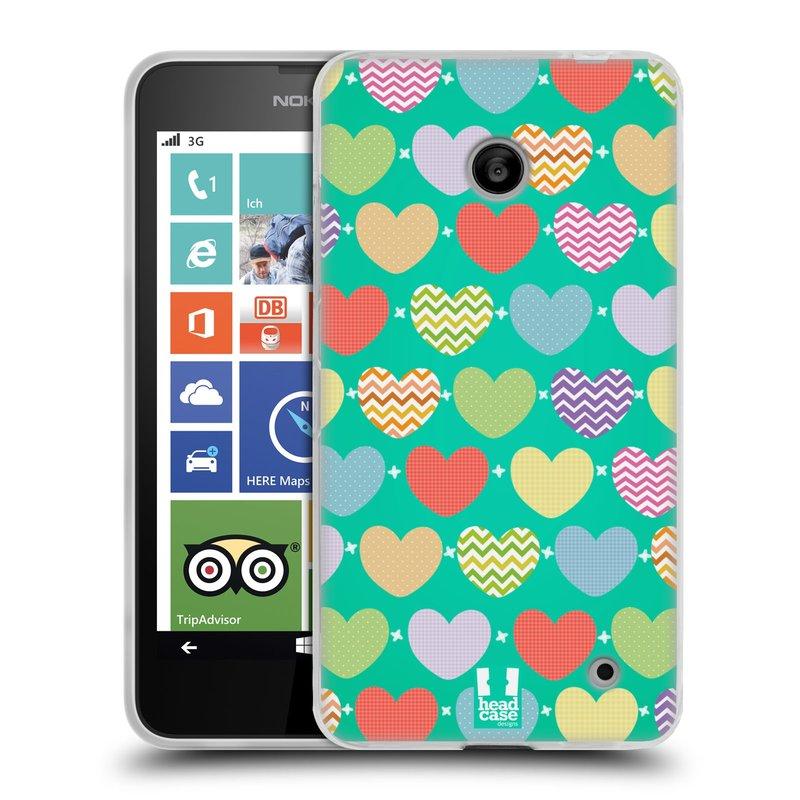 Silikonové pouzdro na mobil Nokia Lumia 630 HEAD CASE SRDÍČKA NA ZELENÉ (Silikonový kryt či obal na mobilní telefon Nokia Lumia 630 a Nokia Lumia 630 Dual SIM)