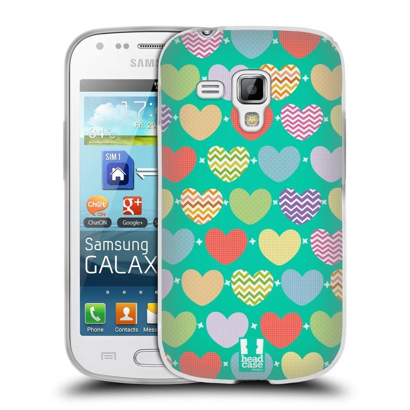 Silikonové pouzdro na mobil Samsung Galaxy Trend Plus HEAD CASE SRDÍČKA NA ZELENÉ (Silikonový kryt či obal na mobilní telefon Samsung Galaxy Trend Plus GT-S7580)