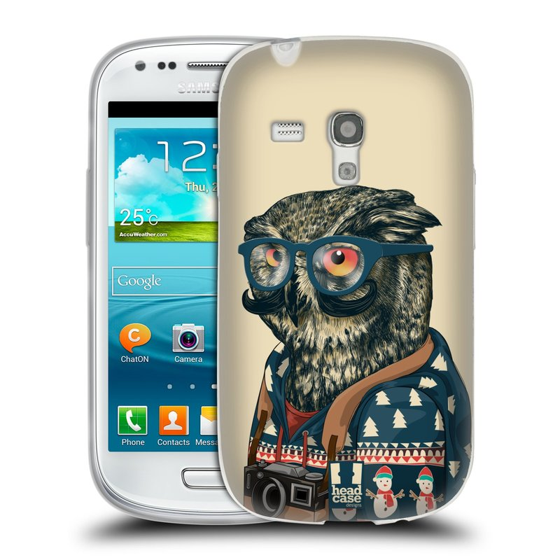 Silikonové pouzdro na mobil Samsung Galaxy S3 Mini VE HEAD CASE HIPSTR SVETR SOVA (Silikonový kryt či obal na mobilní telefon Samsung Galaxy S3 Mini VE GT-i8200)
