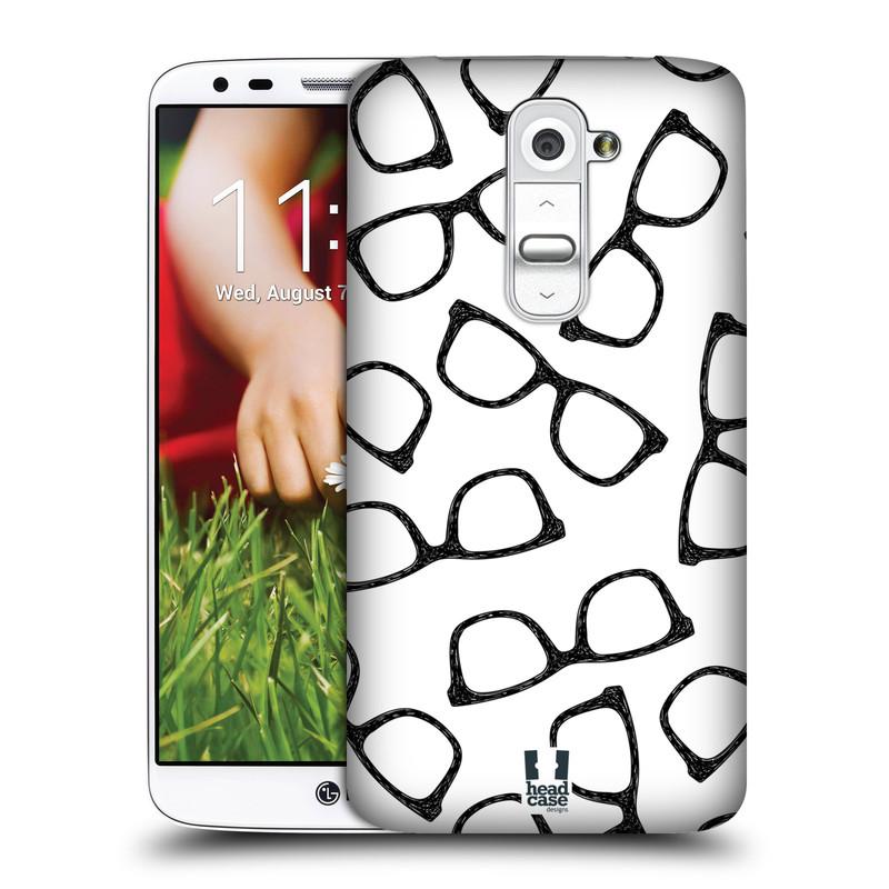 Plastové pouzdro na mobil LG G2 HEAD CASE HIPSTER BRÝLE (Kryt či obal na mobilní telefon LG G2 D802)