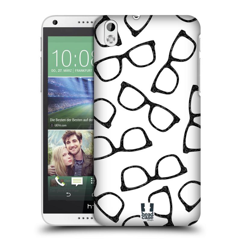 Plastové pouzdro na mobil HTC Desire 816 HEAD CASE HIPSTER BRÝLE (Kryt či obal na mobilní telefon HTC Desire 816)