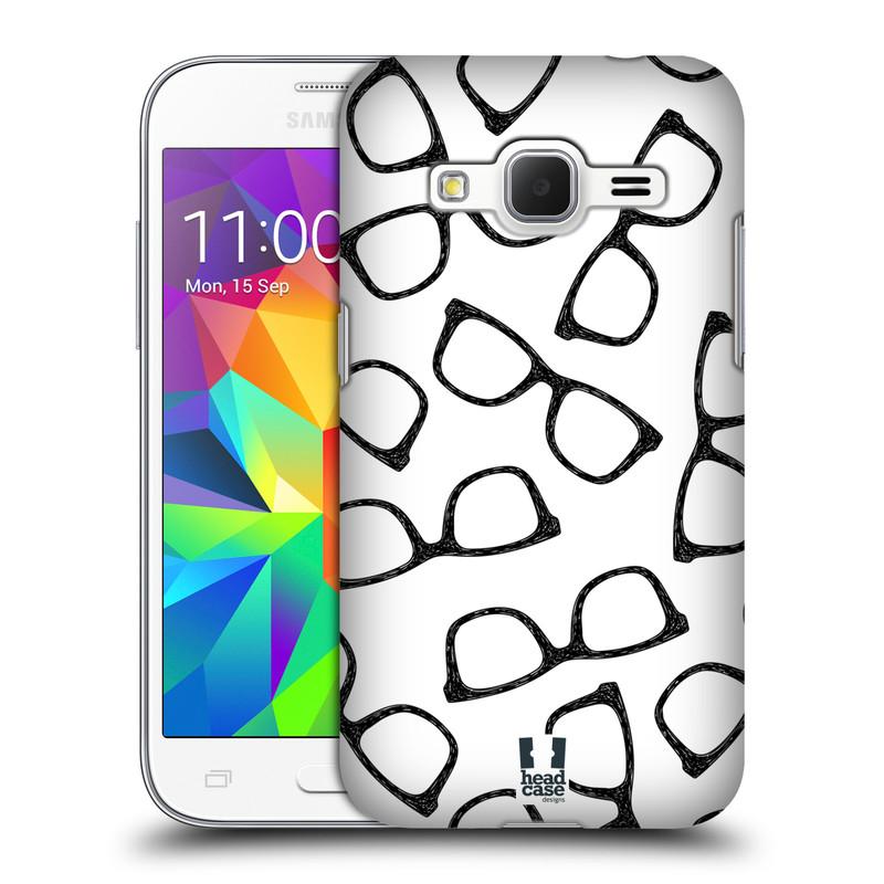 Plastové pouzdro na mobil Samsung Galaxy Core Prime LTE HEAD CASE HIPSTER BRÝLE (Kryt či obal na mobilní telefon Samsung Galaxy Core Prime LTE SM-G360)