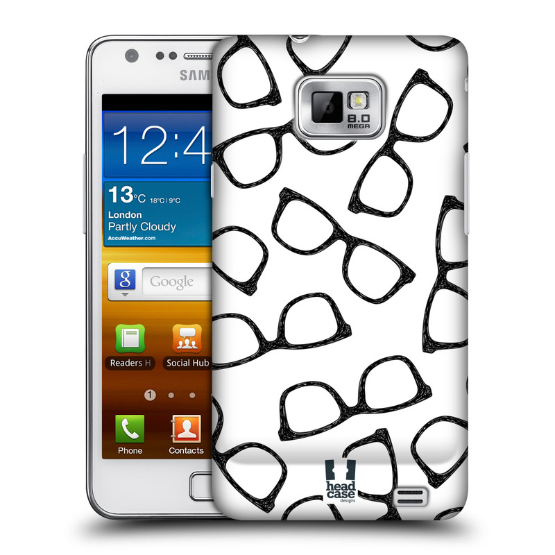 Plastové pouzdro na mobil Samsung Galaxy S II HEAD CASE HIPSTER BRÝLE (Kryt či obal na mobilní telefon Samsung Galaxy S II GT-i9100)