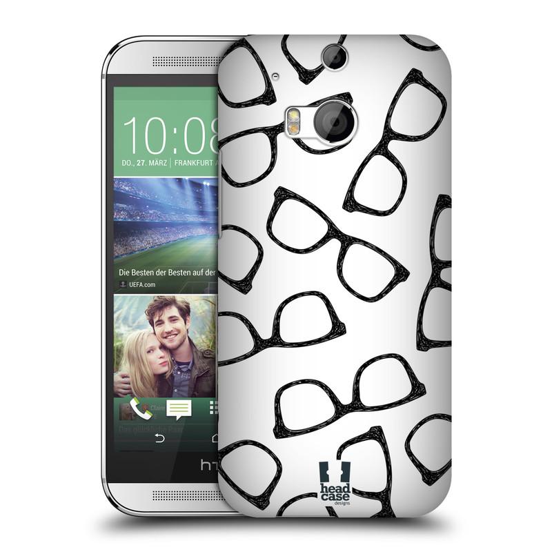 Plastové pouzdro na mobil HTC ONE M8 HEAD CASE HIPSTER BRÝLE (Kryt či obal na mobilní telefon HTC ONE M8)