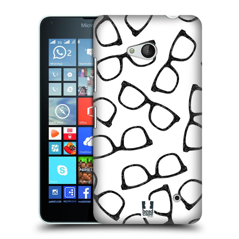 Plastové pouzdro na mobil Microsoft Lumia 640 HEAD CASE HIPSTER BRÝLE (Kryt či obal na mobilní telefon Microsoft Lumia 640)