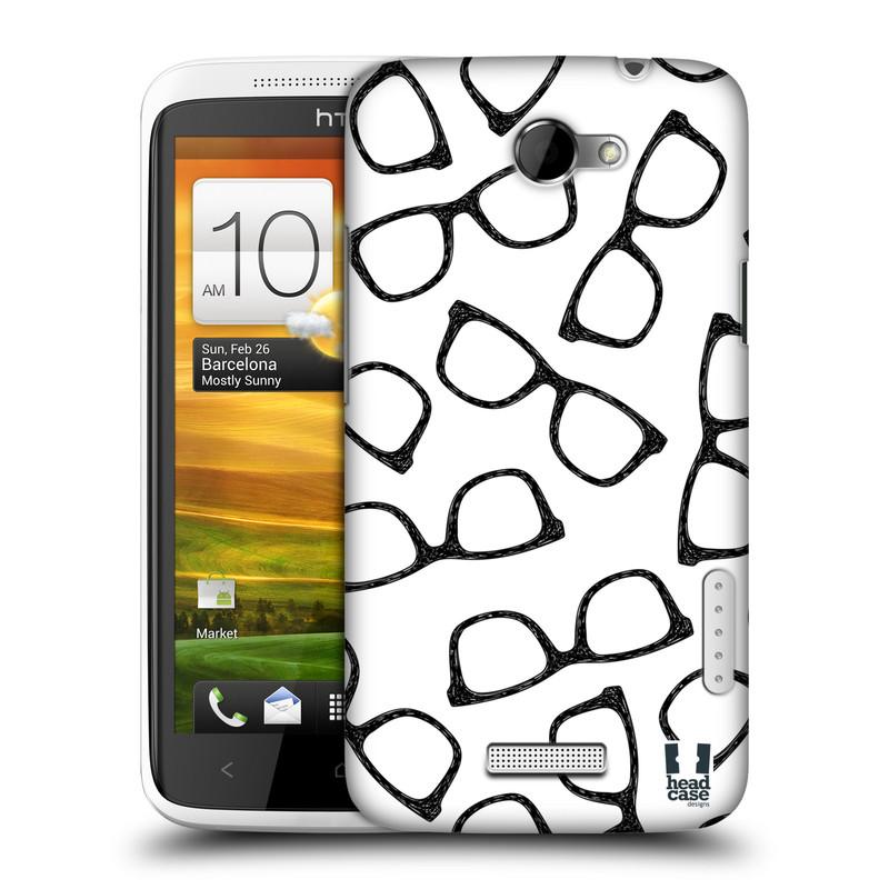 Plastové pouzdro na mobil HTC ONE X HEAD CASE HIPSTER BRÝLE (Kryt či obal na mobilní telefon HTC ONE X)