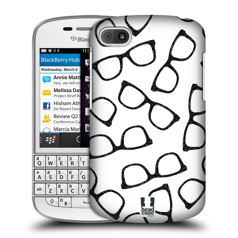 Plastové pouzdro na mobil Blackberry Q10 HEAD CASE HIPSTER BRÝLE (Kryt či obal na mobilní telefon Blackberry Q10)