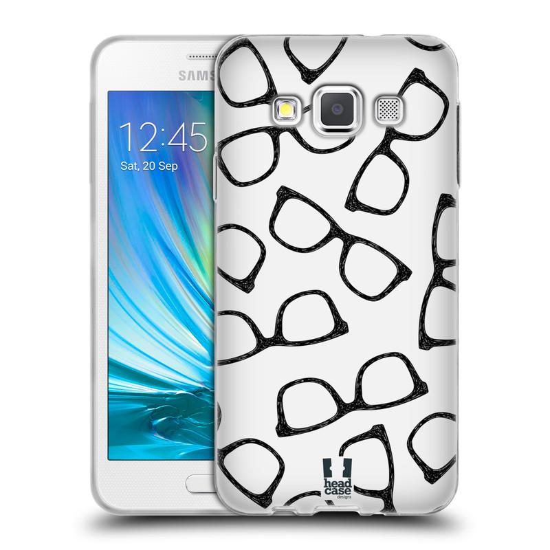 Silikonové pouzdro na mobil Samsung Galaxy A3 HEAD CASE HIPSTER BRÝLE (Silikonový kryt či obal na mobilní telefon Samsung Galaxy A3 SM-A300)