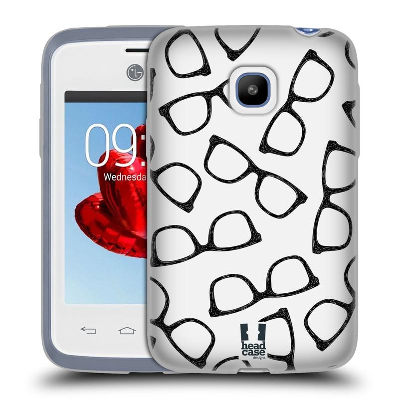 Silikonové pouzdro na mobil LG L20 HEAD CASE HIPSTER BRÝLE (Silikonový kryt či obal na mobilní telefon LG L20 D107)