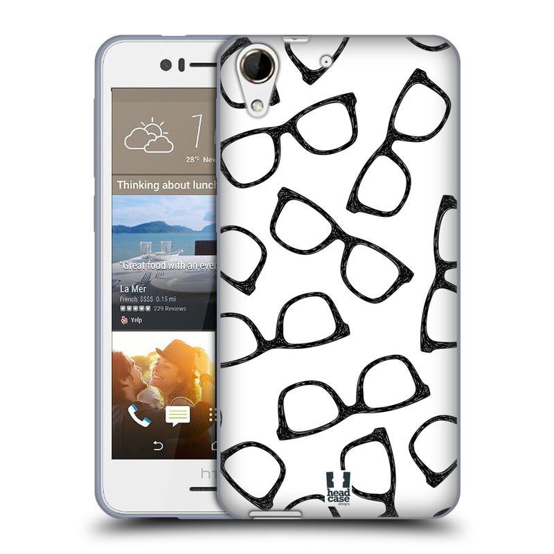 Silikonové pouzdro na mobil HTC Desire 728G Dual SIM HEAD CASE HIPSTER BRÝLE (Silikonový kryt či obal na mobilní telefon HTC Desire 728 G Dual SIM)