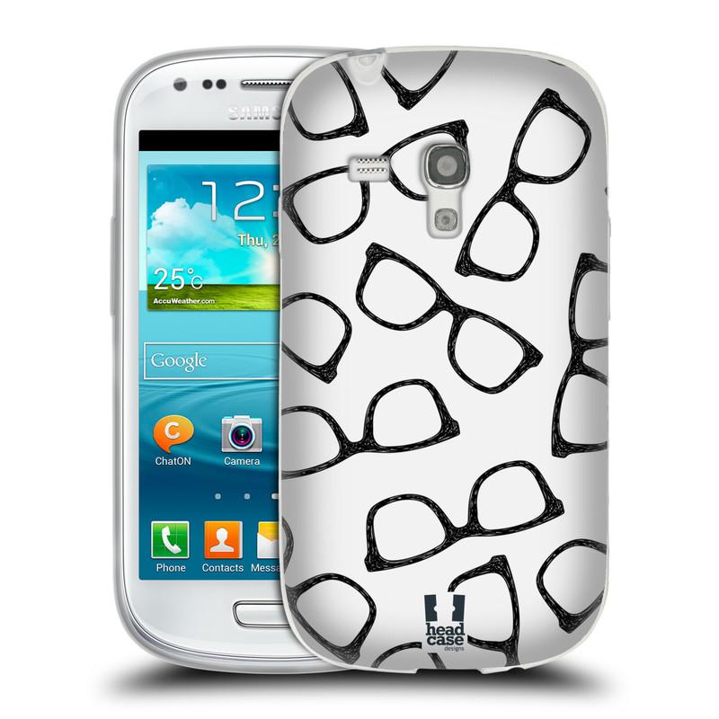 Silikonové pouzdro na mobil Samsung Galaxy S III Mini HEAD CASE HIPSTER BRÝLE (Silikonový kryt či obal na mobilní telefon Samsung Galaxy S III Mini GT-i8190)