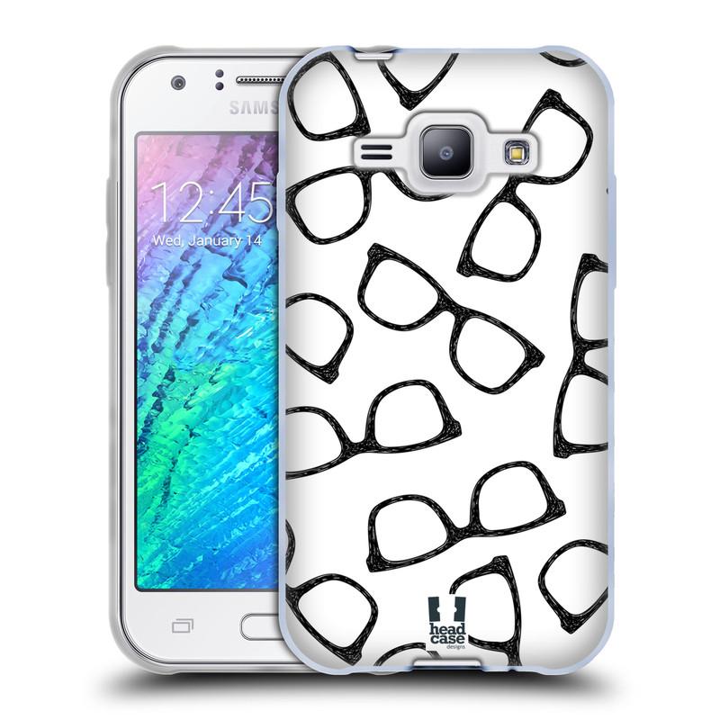 Silikonové pouzdro na mobil Samsung Galaxy J1 HEAD CASE HIPSTER BRÝLE (Silikonový kryt či obal na mobilní telefon Samsung Galaxy J1 a J1 Duos)