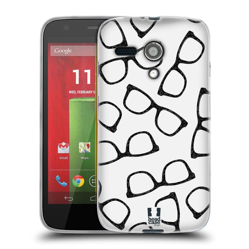 Silikonové pouzdro na mobil Motorola Moto G HEAD CASE HIPSTER BRÝLE (Silikonový kryt či obal na mobilní telefon Motorola Moto G)